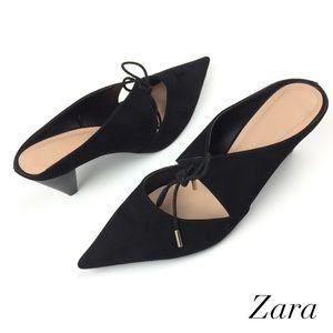 Zara Size 39 US 8 Suede Cone Heel Mules Sandals